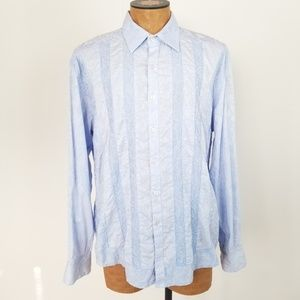 Robert Graham Striped Floral Embossed Button Down